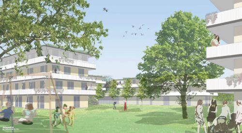 Grünfläche mit Menschen zwischen den Neubauten